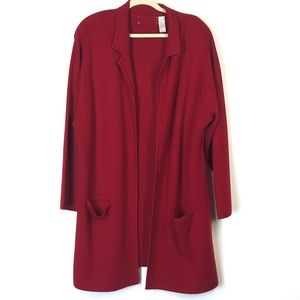 Liz Claiborne  Red Open Front Cardigan Size 3X